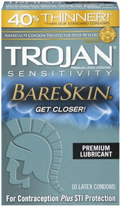 Trojan Sensitivity Bareskin Lubricated Condoms - 10 Pack TJ92674