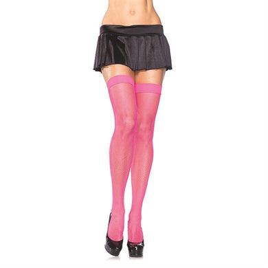 Fishnet Thigh Highs - One Size - Neon Pink LA-9011PNK