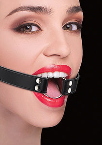 Ring Gag With Leather Straps - Black OU-OU104BLK