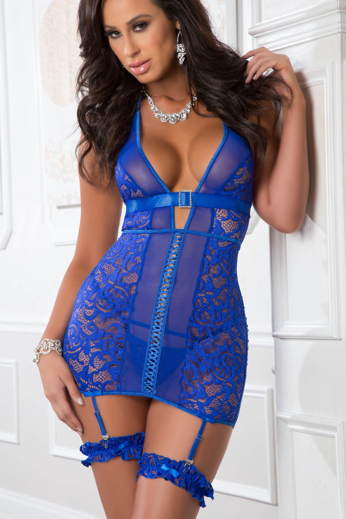 3pc Lace Up Empire Waist Garter Dress - One Size - Blue Angel GWD-D1907BA