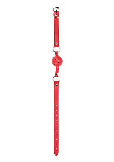 Ball Gag With Leather Straps - Red OU-OU047RED