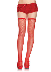 Elastic Top Fishnet Thigh Highs - One Size - Red LA-9031RED