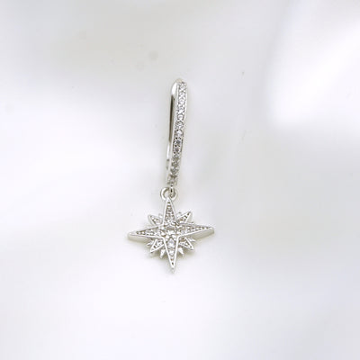 Silver North Star Sparkling Hoop Earring