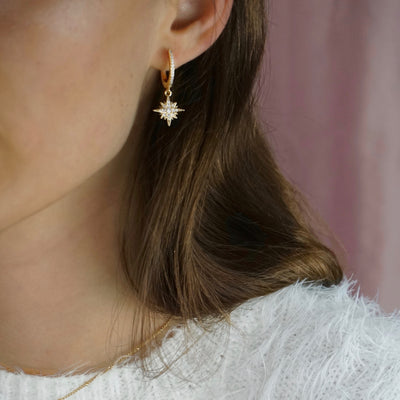 North Star Sparkling Hoop Earring