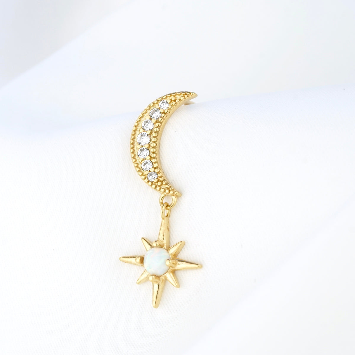 Moon and Opal Star Earpin