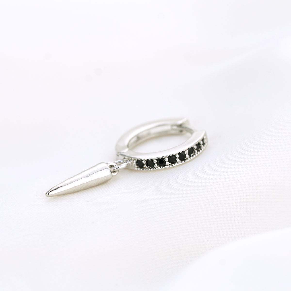 Silver Black Spike Earring