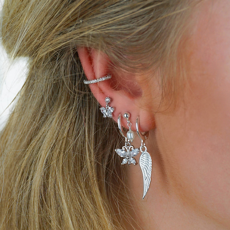 Silver Big Zirconia Butterfly Earring