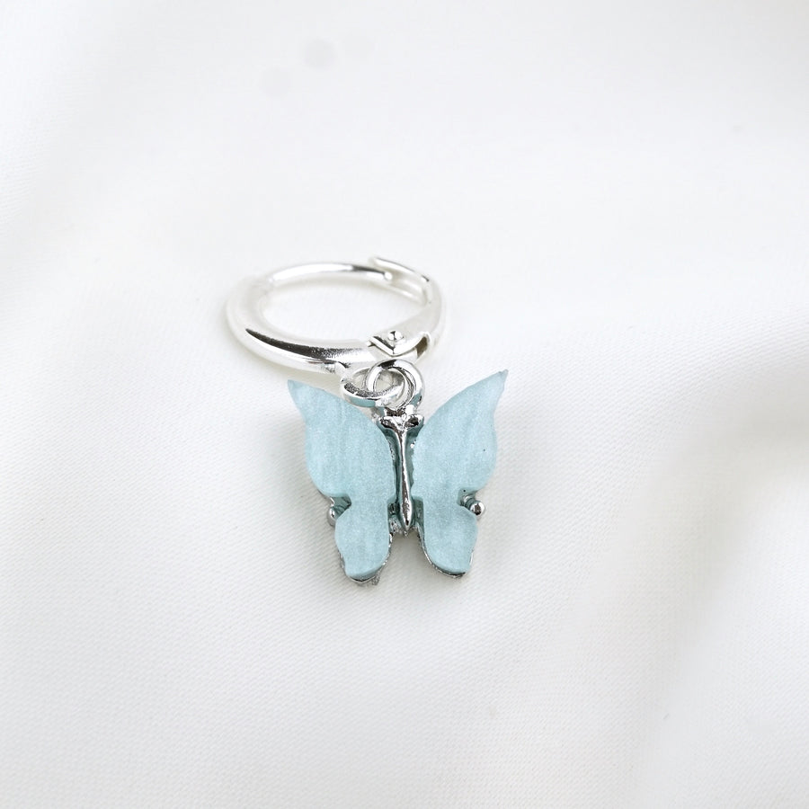 Silver Sky Blue Butterfly Earring