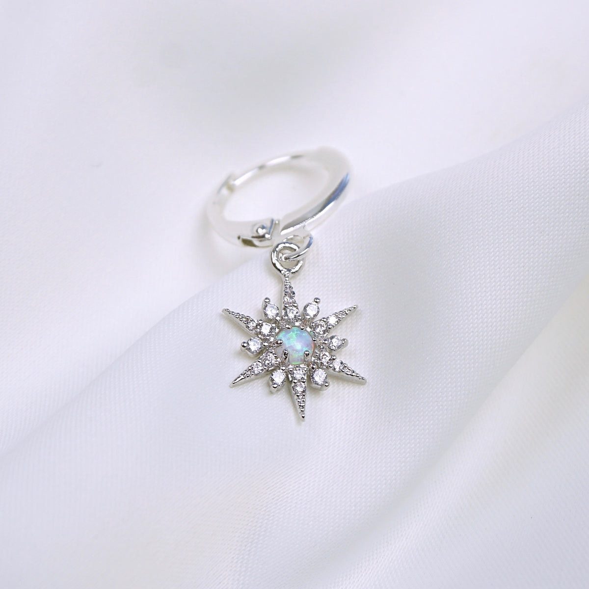 Silver Opal North Star Earring