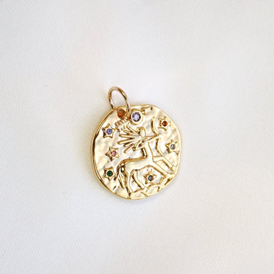 Cubic Star Sign Coin Necklace
