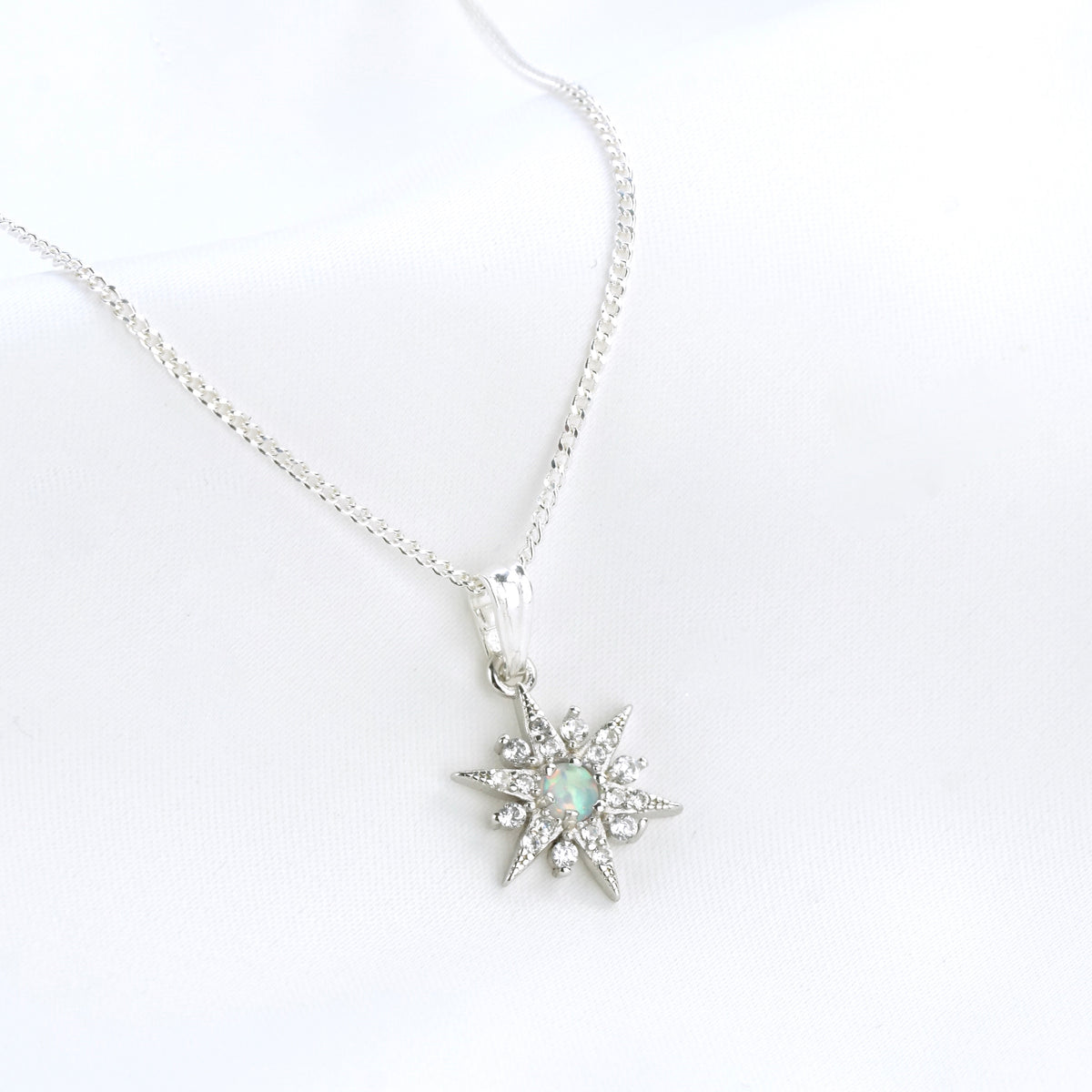 Silver White Opal North Star Necklace