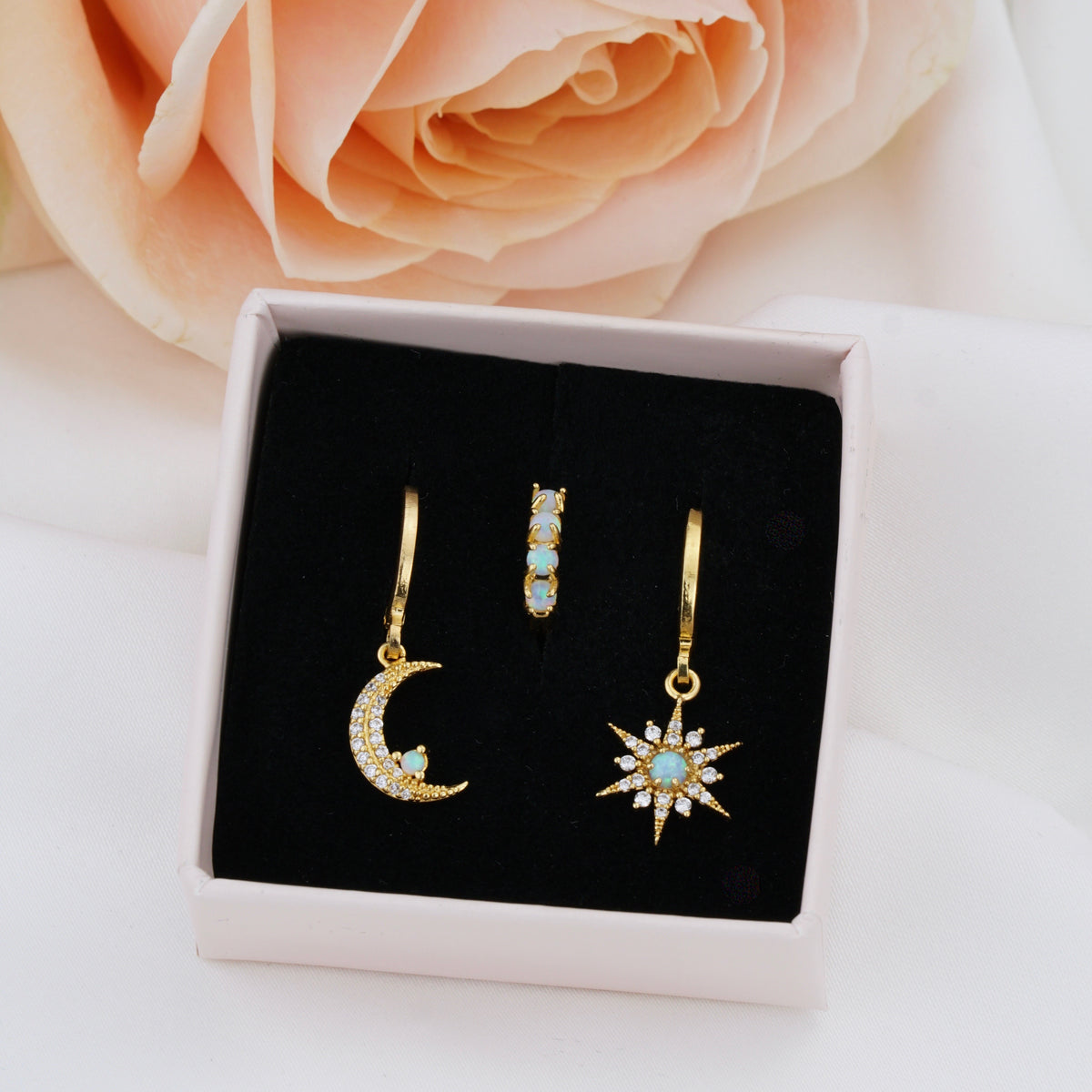 Opal Star And Moon Earring Set