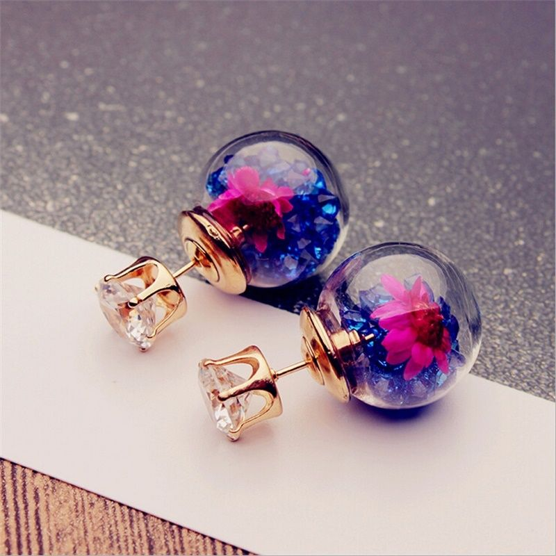 Unique Rose Glass Ball Flower Rhinestone Studs
