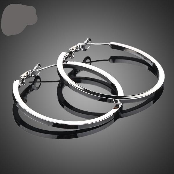 White Gold Color Classic Hoop Earrings