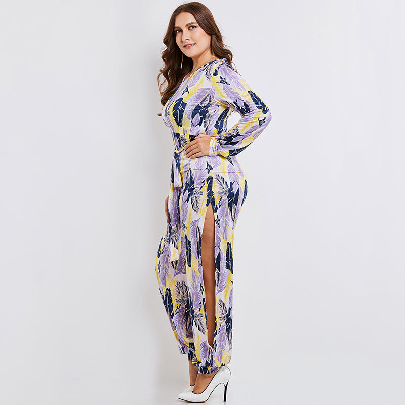 Feather Printed High Slits Jumpsuits