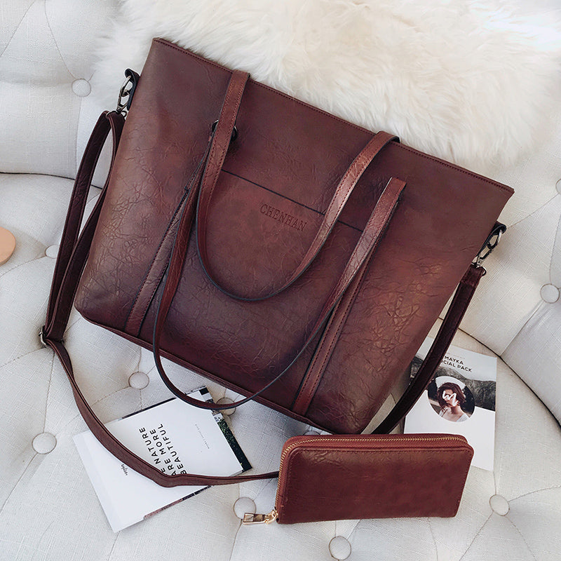 Leather Tote Bag With Wallet