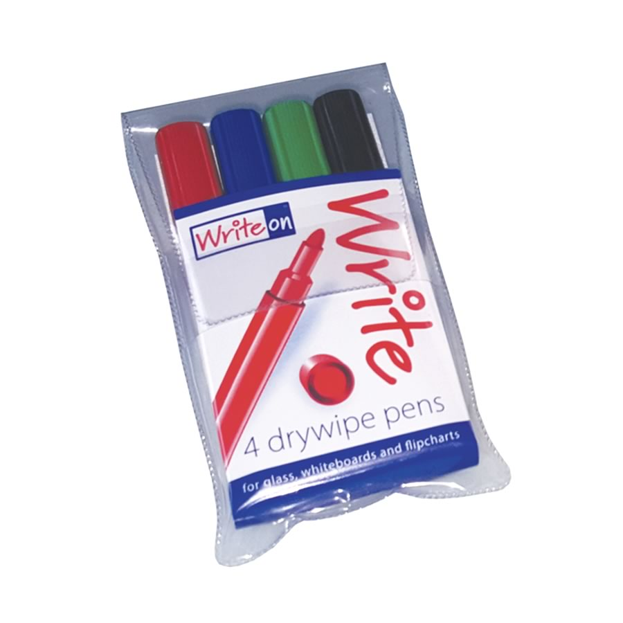 WriteOn® Drywipe Pens with New Ink Formula - Wallet of 4
