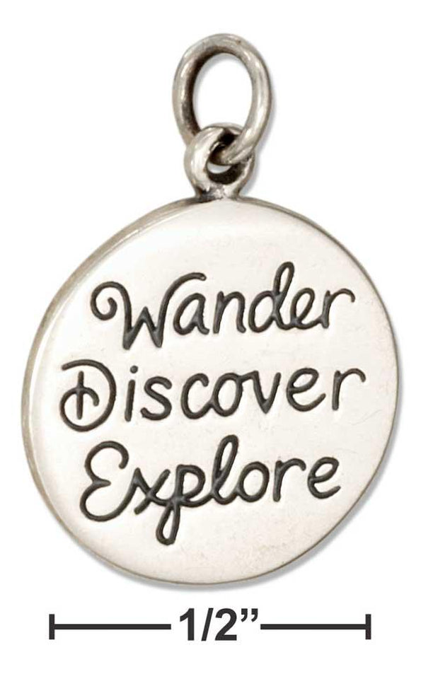 STERLING SILVER ROUNDWANDER DISCOVER EXPLORE MESSAGE CHARM