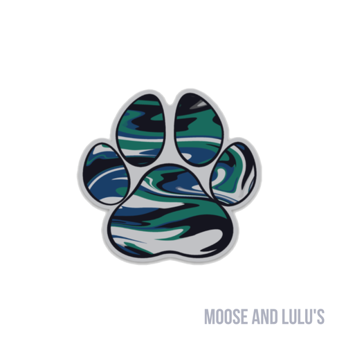 Camo Paw Print Sticker - Moose and Lulu's