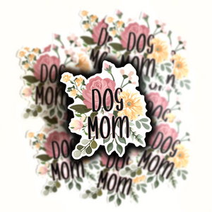 Dog Mom Flowers Sticker