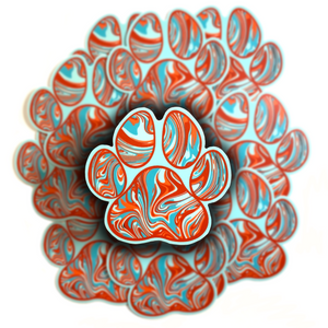 Orange and Teal Marble Paw Print Sticker