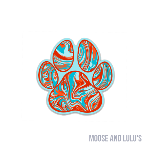 Orange and Teal Marble Paw Print Sticker - Moose and Lulu's