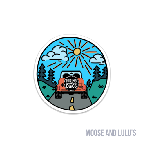 Hiking and Dogs Sticker - Moose and Lulu's