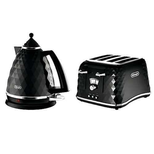 Everything.Bargains DeLonghi Faceted Kettle + 4 Slice Toaster Set Kitchen Bundle Black, Red, White Colour