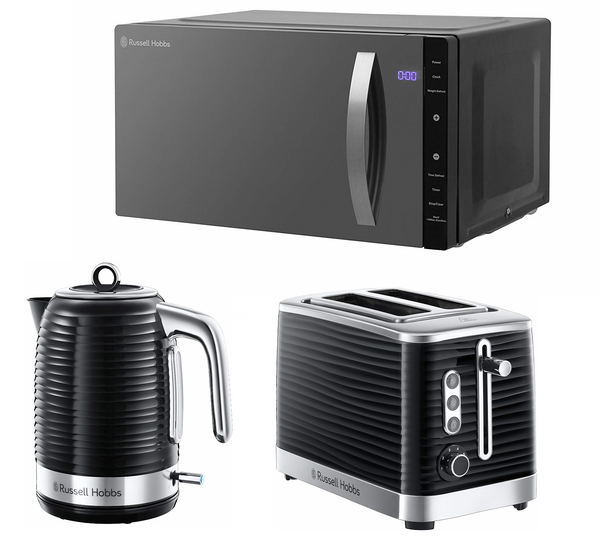 Everything.Bargains Black Russell Hobbs 23L Flatbed Microwave, Inspire Kettle and Toaster