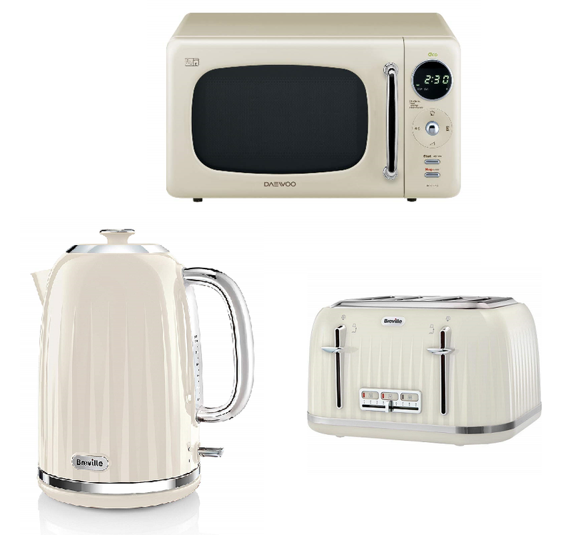 Everything.Bargains Daewoo Retro Design Microwave + Breville Kettle & Toaster Kitchen Set