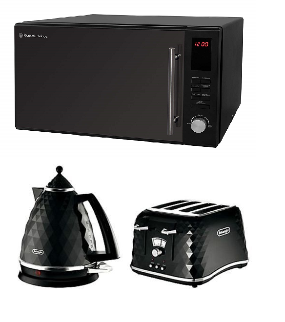 Everything.Bargains DeLonghi Brillante Kettle + 4 Slice Toaster + Russell Hobbs 30L Microwave Kitchen SET
