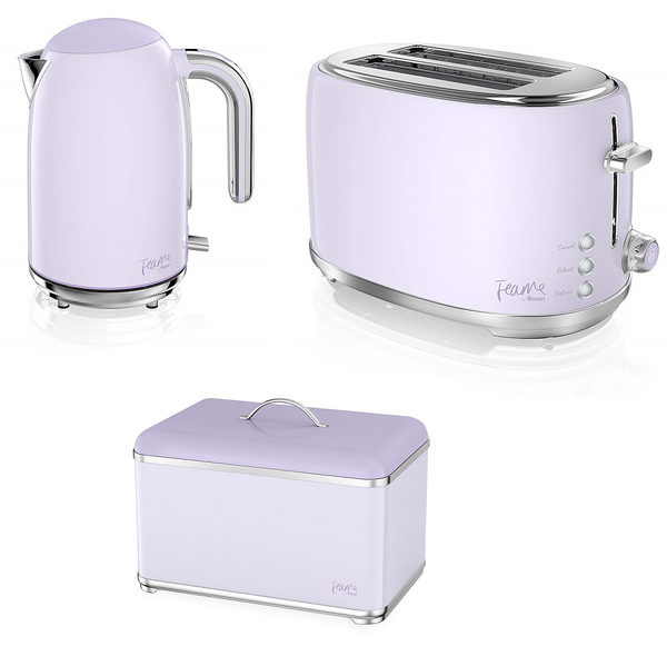 Everything.Bargains Fearne by Swan Quiet Boil Jug Kettle 1.7 L + 2-Slice Toaster (+ Breadbin)