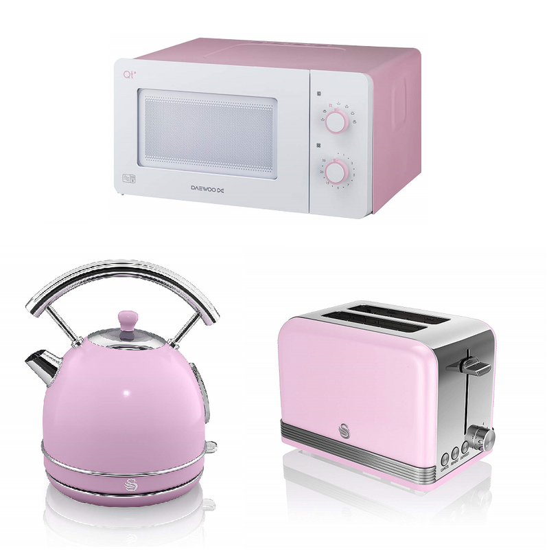Everything.Bargains Pink/White Daewoo 14L Microwave, Swan Dome 1.8L Kettle and 2-slice Toaster (+ optional Canisters) Kitchen Appliance Set