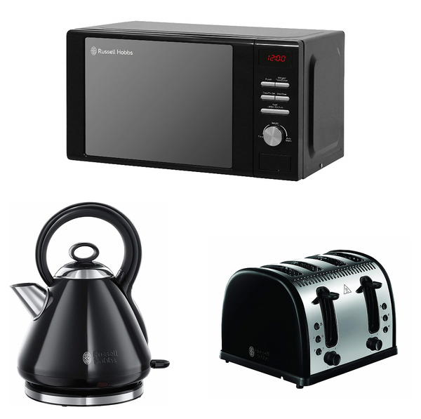 Everything.Bargains Russell Hobbs Heritage 20L Microwave, Legacy Kettle and 4-Slice Toaster (with Coffee Maker) Kitchen Set