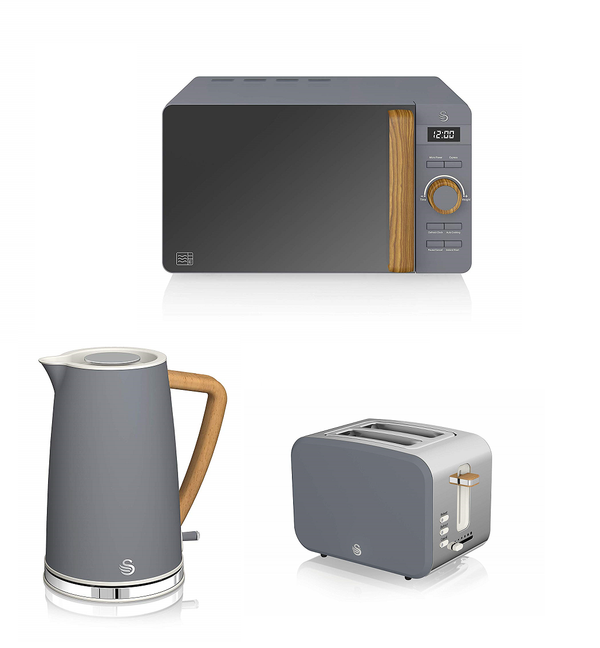 Everything.Bargains Swan Kitchen Nordic Digital 20L Microwave,1.7L  Kettle & Toaster Set