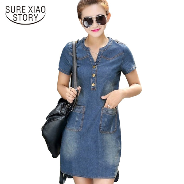 fashion 2018 Korean blue Denim Dresse Short Sleeve Summer dress Casual V-neck slim Female Dresses Plus Size women dress 176A 45