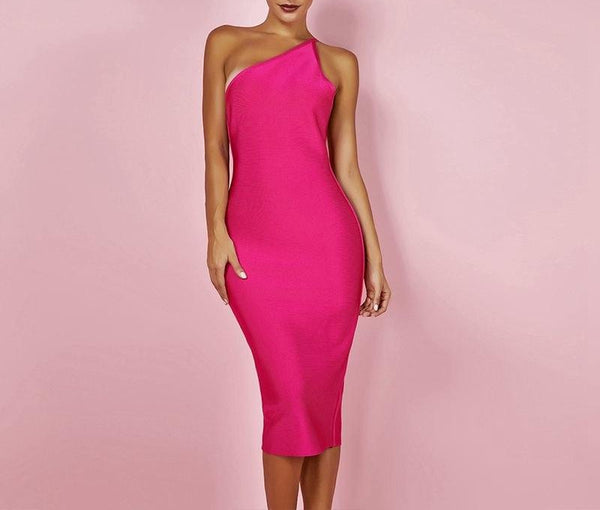 Ocstrade Fashion Celeb Bandage Dress 2018 Hot Pink Backless Maxi Bandage Dress Bodycon Sexy Women One Shoulder Bandage Dress