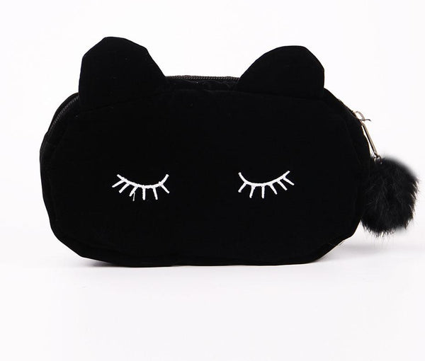 Cute Lady Cosmetic Bag Cat Hairball Zipper Pouch Travel Toiletry Storage Bag Pouch Women Trip Makeup Bag
