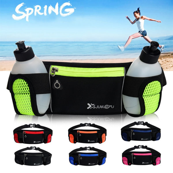 Fitness Outdoor Running Waist Bag Phone Pouch Kettle Holder Double Water Bottle Pack Marathon Pocket Waist Belt Band Adjustable