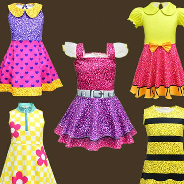 Summer Colorful Girls Lol Dress Dolls Girl Birthday Party Dress Halloween Christmas Child Girl Cosplay Costume Kids Lol Clothes