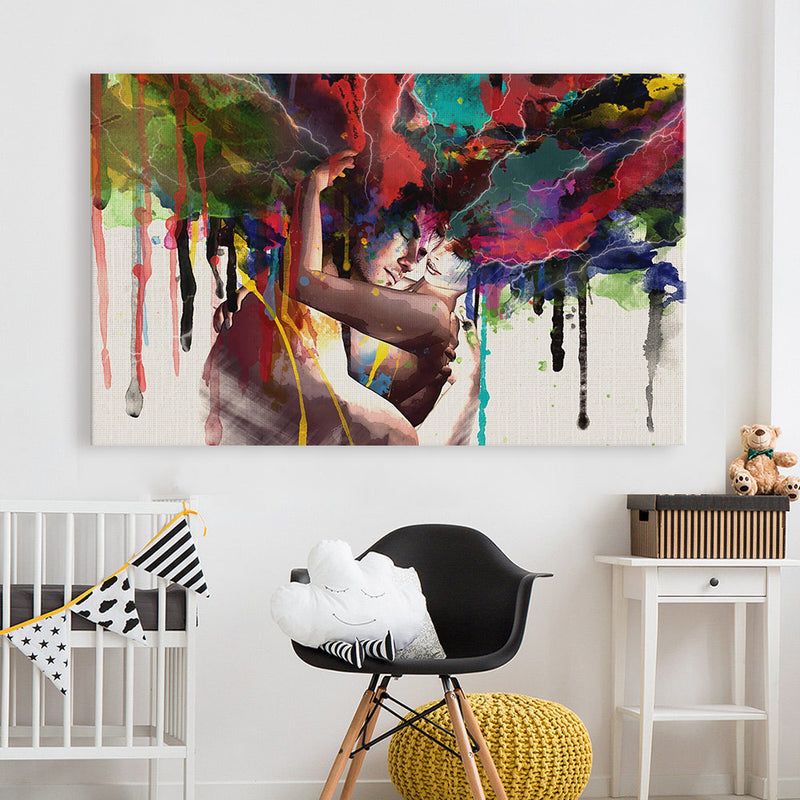 HDARTISAN Abstract Oil Painting Print On Canvas Poster The Lovers Home Decor Wall Pictures For Living Room
