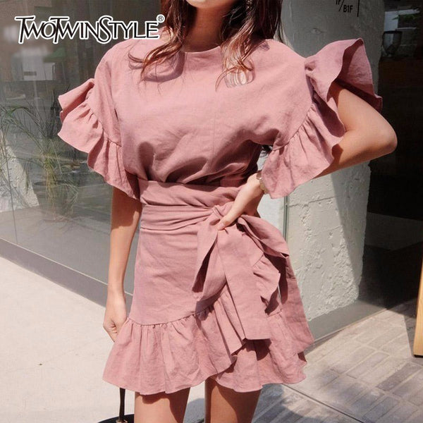 TWOTWINSTYLE Belt Dress Female Flare Sleeve High Waist Bodycon Patchwork Mini Dresses For Women Spring Summer Sweet Clothing