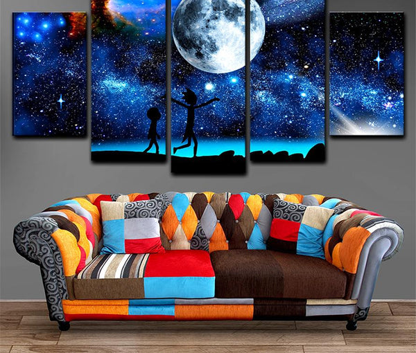 Canvas Paintings Home Decor 5 Pieces Rick And Morty Pictures Printed Starry Sky Moon Poster For Living Room Wall Art Framework