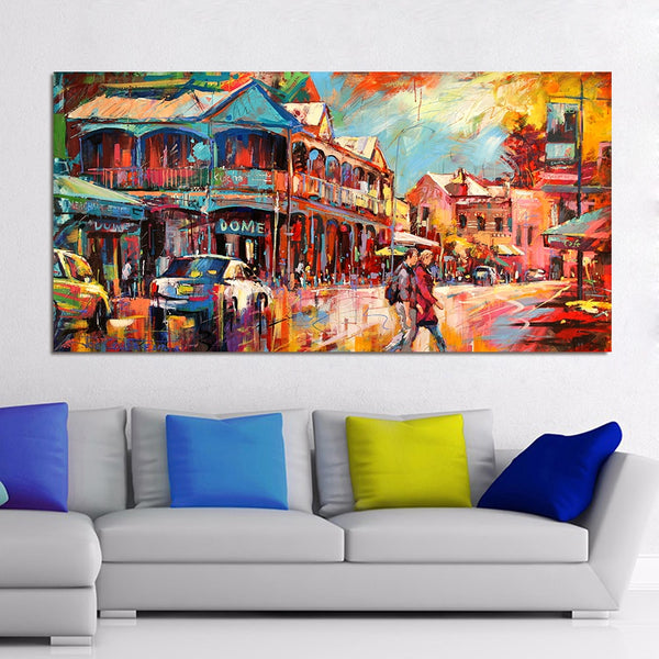 HDARTISAN Landscape Oil Painting Main Fremantle Strip Canvas Art Wall Pictures For Living Room Home Decor Printed Frameless