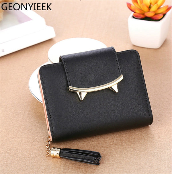2018 Cute Cat Ears Leather Vintage Tassel Women Wallet Luxury Brand Famous Short Mini Womens Wallets And Purses For Credit Cards