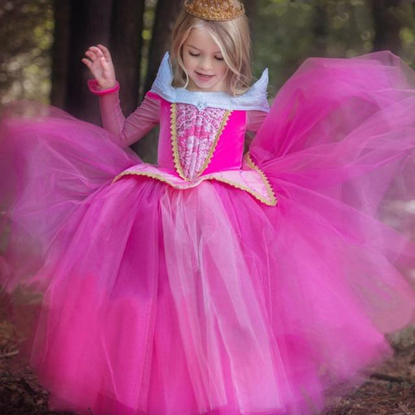 Fancy Girls Dress Halloween Cosplay Sleeping Beauty Princess Dresses Carnival Role Play Girl Long Sleeve Prom Gown Costume