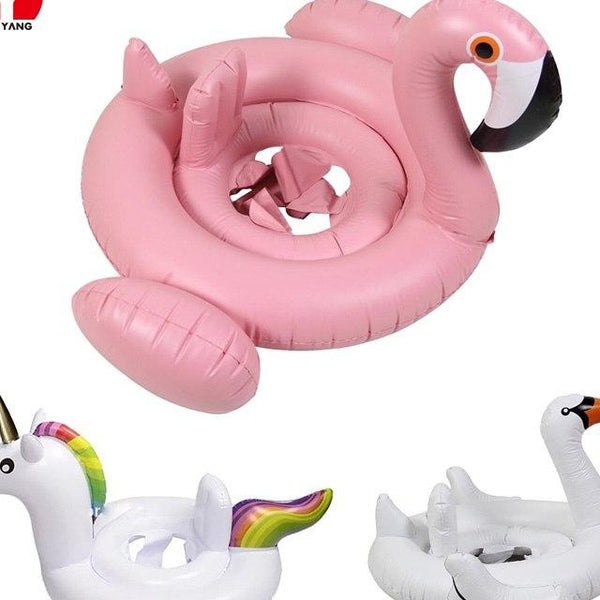 Inflatable Flamingo Baby Float White Swan Baby Swimming Ring Unicorn Baby Float Inflatable Ring Kids Swimming Water Pool Toys