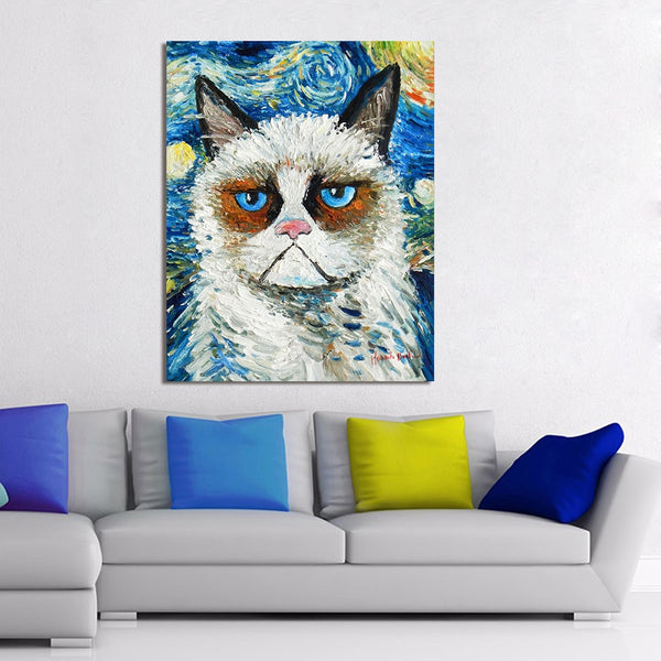 HDARTISAN Animal Canvas Art Wall Pictures For Living Room Starry Night Angry Cat Painting Home Decor Printed
