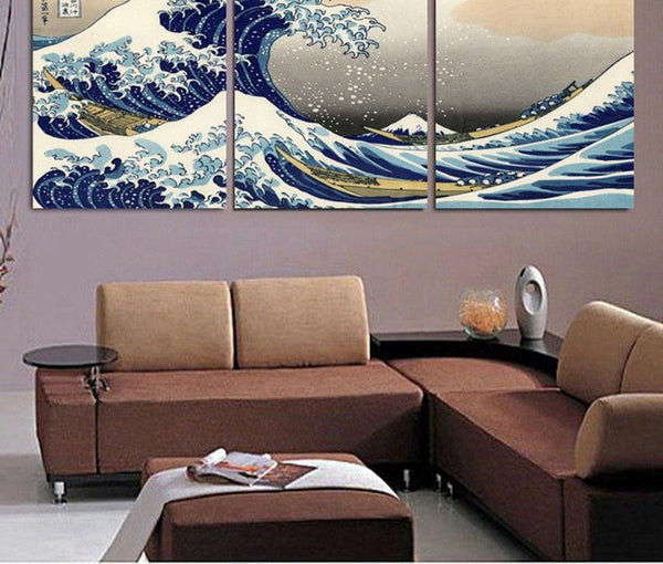 Canvas Print Poster Home Decor 3 Pieces Katsushika Hokusai Great Wave Off Kanagawa Views Of Mount Fuji Painting Wall Art Picture