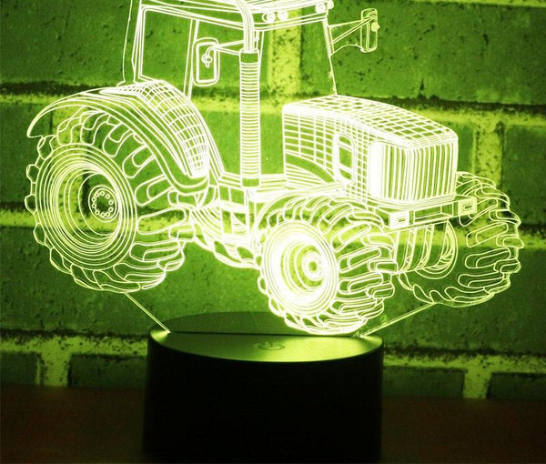 3D LED Night Light Dynamic Tractor Car with 7 Colors Light for Home Decoration Lamp Amazing Visualization Optical Illusion